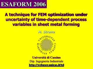 A technique for FEM optimization under uncertainty of time-dependent process variables in sheet metal forming