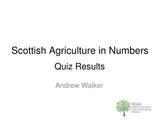 Scottish Agriculture in Numbers
