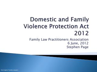 Domestic and Family Violence Protection Act 2012