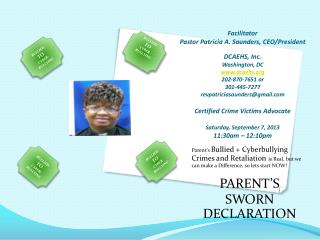 Parent's Bullied + Cyberbullying Crimes and Retaliation is Real, but we can make a Difference, so lets start NOW! PAR