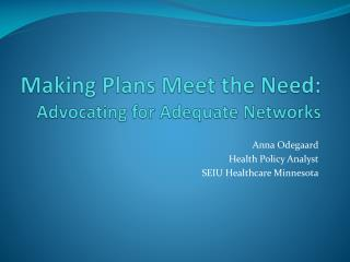 Making Plans Meet the Need:  Advocating for Adequate Networks