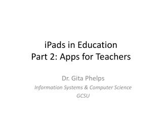 iPads  in Education Part 2: Apps for Teachers
