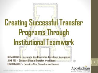 Creating Successful Transfer Programs Through Institutional Teamwork