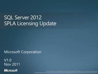 SQL Server 2012 SPLA Licensing Update