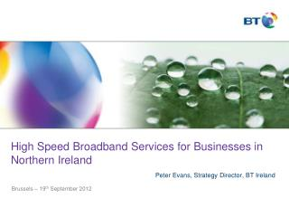 High Speed Broadband Services for Businesses in Northern Ireland Peter Evans, Strategy Director, BT Ireland