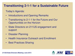 Transitioning 2-1-1 for a Sustainable Future