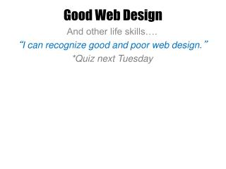 Good Web Design
