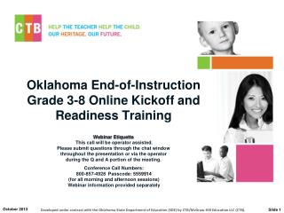 Oklahoma End-of-Instruction  Grade 3-8 Online Kickoff and Readiness Training
