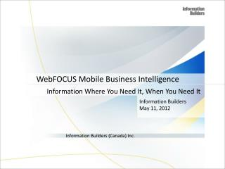 WebFOCUS Mobile Business Intelligence