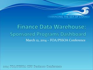 Finance Data Warehouse:  Sponsored Programs Dashboard