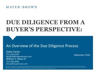 DUE DILIGENCE FROM A BUYER'S PERSPECTIVE: