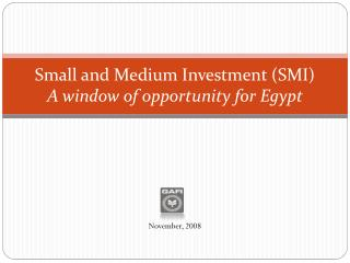 Small and Medium Investment (SMI) A window of opportunity for Egypt