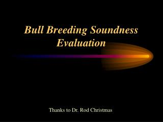 Bull Breeding Soundness Evaluation