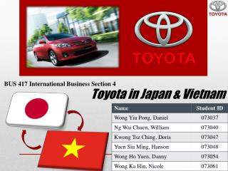 Toyota in Japan &  Vietnam