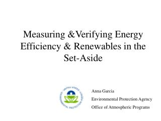 Measuring &Verifying Energy Efficiency & Renewables in the Set-Aside