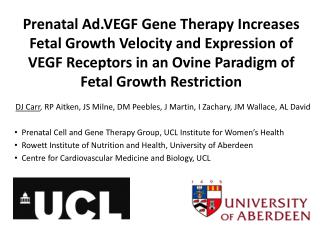 Prenatal Ad.VEGF Gene Therapy Increases         Fetal Growth Velocity and Expression of VEGF Receptors in an Ovine Para