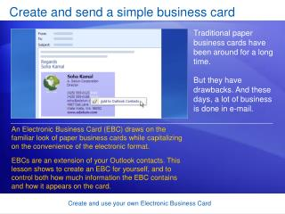 Create and send a simple business card