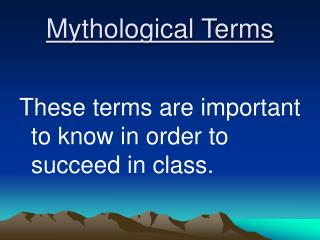Mythological Terms