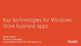Key technologies for Windows Store business apps