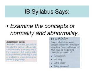 IB Syllabus Says: