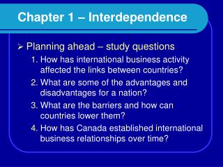 Chapter 1 – Interdependence