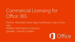 Commercial Licensing for  Office 365