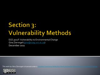 Section 3: Vulnerability  Methods