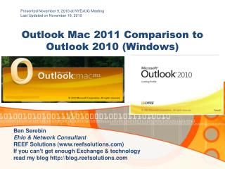 Outlook Mac  2011 Comparison to Outlook 2010 (Windows)