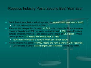 Robotics Industry Posts Second Best Year Ever