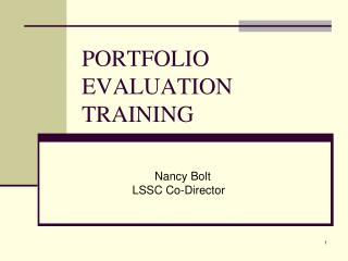PORTFOLIO EVALUATION TRAINING