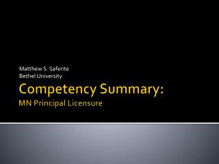 Competency Summary: MN Principal Licensure