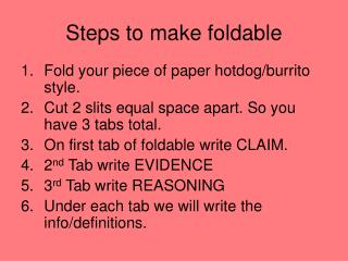 Steps to make foldable