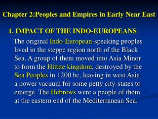 Chapter 2:Peoples and Empires in Early Near East