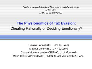 The Physionomics of Tax Evasion:  Cheating Rationally or Deciding Emotionally?