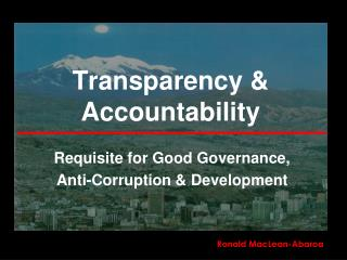 Transparency & Accountability