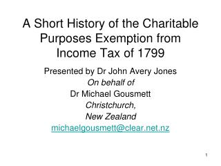 A Short History of the Charitable Purposes Exemption from Income Tax of 1799