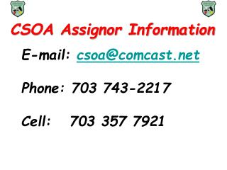 CSOA Assignor Information