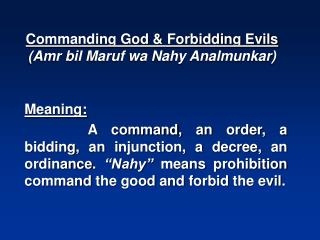 Commanding God & Forbidding Evils (Amr bil Maruf wa Nahy Analmunkar)