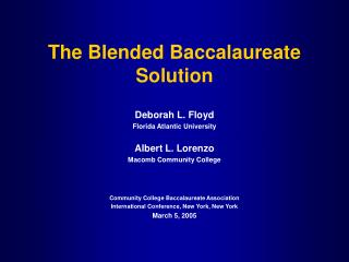 The Blended Baccalaureate Solution
