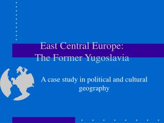 East Central Europe: The Former Yugoslavia