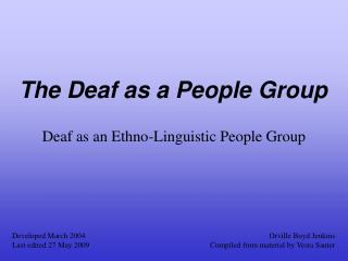 The Deaf as a People Group