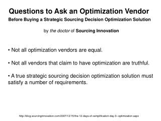 Questions to Ask an Optimization Vendor