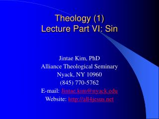 Theology (1)  Lecture Part VI: Sin
