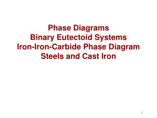 Phase Diagrams Binary Eutectoid Systems Iron-Iron-Carbide Phase Diagram Steels and Cast Iron