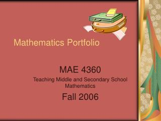 Mathematics Portfolio