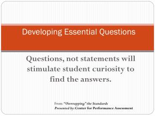 Developing Essential Questions