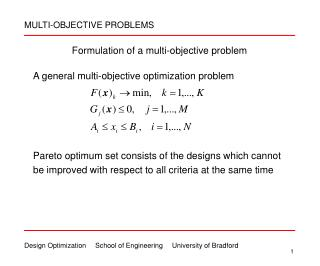 Formulation of a multi-objective problem