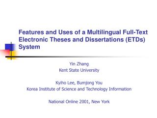 Features and Uses of a Multilingual Full-Text Electronic Theses and Dissertations (ETDs) System