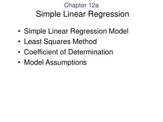 Chapter 12a  Simple Linear Regression