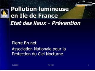 Pollution lumineuse en Ile de France